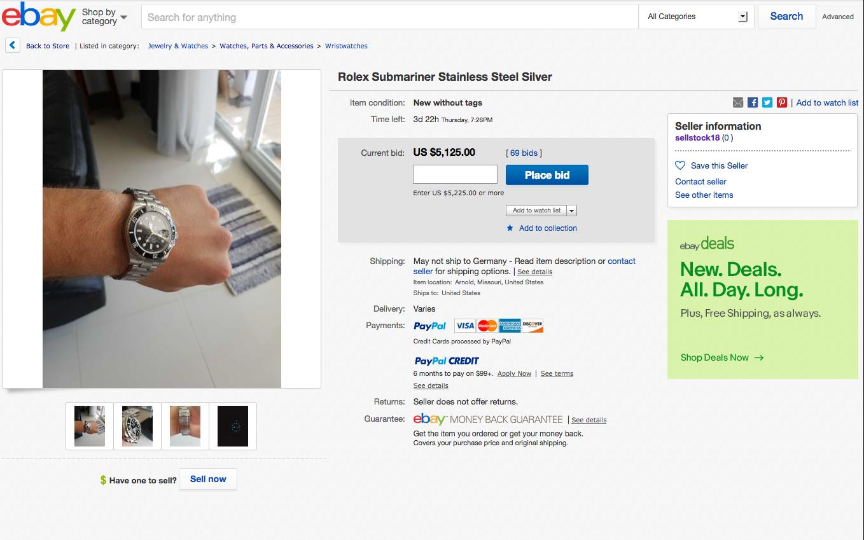 Ιμιτασιόν Rolex 116610LN, πωλείται στο eBay σαν γνήσιο - Μαύρη Λίστα